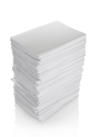 close up of stack of papers on full isolated white background  photo