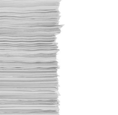 stack of documents: stack of papers in isolated background Stock Photo