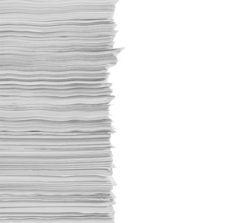 stapel papieren in geïsoleerde achtergrond Stockfoto