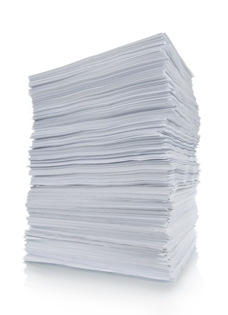office chaos: close up of stack paper in white background Stock Photo