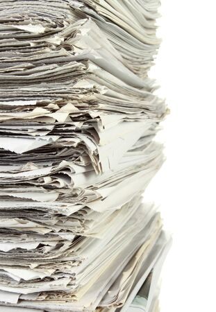 close up of stack of papers on white background with clipping path photo