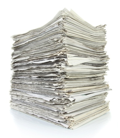 pile up: Stack of newspaper on white background Stock Photo