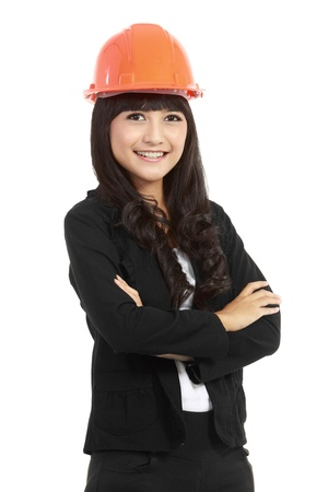 female engineer: A pretty woman architect on isolated white background