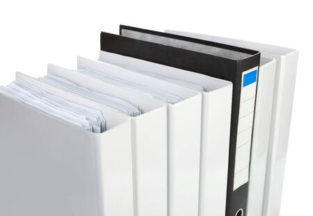 searh: Archive. Many binders on white isolated background.