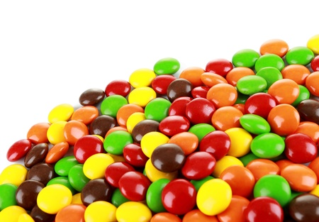 a pile of candies on a white background photo