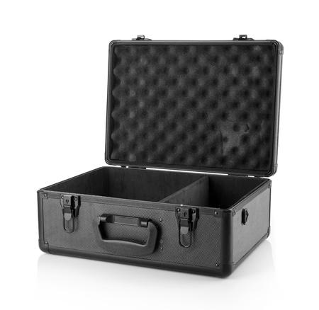 suitcase.Isolated aperto su sfondo bianco.