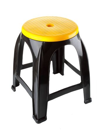 outdoor furniture: Black plastic chair on a white background