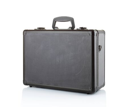 Black padded aluminum briefcase isolated on white photo