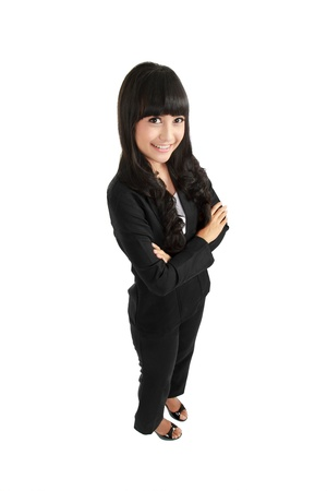 woman on top: Positive business woman smiling over white background