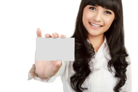 notecard: Business card or white sign - Portrait of a beautiful business woman holding a blank notecard. isolated background