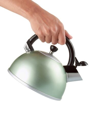 chrome man: A man holding a chrome kettle in his right hand and pouring water, isolated on white