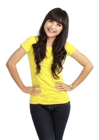 Portrait of happy smiling woman dressed in a casual clothes , Isolated on white background