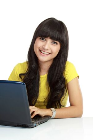 asian laptop: Young casual woman style with laptop isolated over white background.  Stock Photo