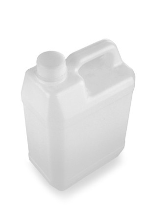 white plastic jerry can is isolated on a white background Stock Photo - 11318366