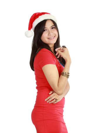 Beautiful Young Happy Christmas Woman over white background photo