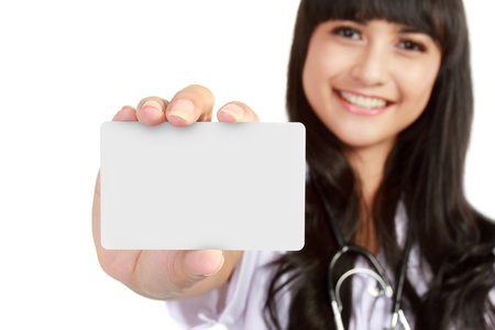 blank card: Nurse or young medical doctor woman showing business card isolated on white background. Closeup with copy space on blank empty sign.