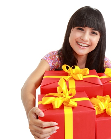 big women: Excited attractive woman with many gift boxes and bags. isolated over white