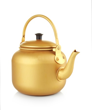 tea kettle: Gold kettle isolated on white background
