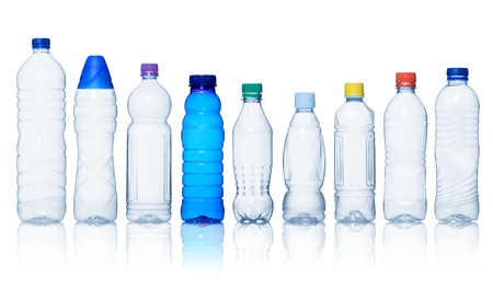 plastic bottle: Collection of water bottles isolated on white background Stock Photo