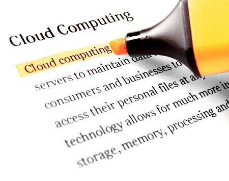 Highlighter and word cloud computing - concept business background photo