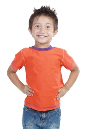 Portrait of a happy little young boy standing with over white background photo