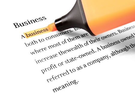 article writing: Highlighter and word business - concept background