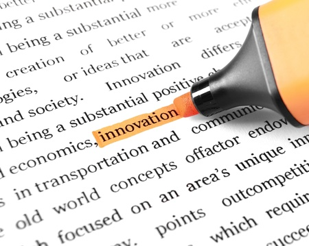 The word 'Innovation' highlighted in orange with felt tip pen Stock Photo - 11683230
