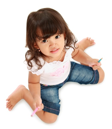 portrait of cute little pretty girl hold pencil color on a white background Stock Photo - 11683361