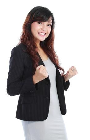 donna entusiasta: Donna d'affari giovane eccitato, isolato su sfondo bianco