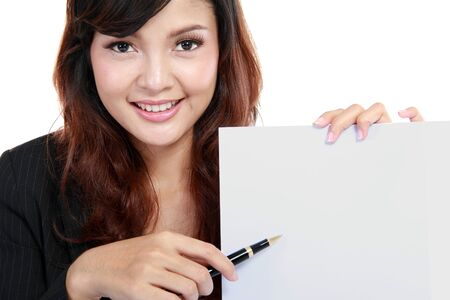 young businesswoman showing contract. Isolated over white. Stock Photo - 11846874