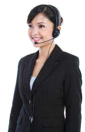 Portrait of a young female customer service operator. in isolated over white background photo