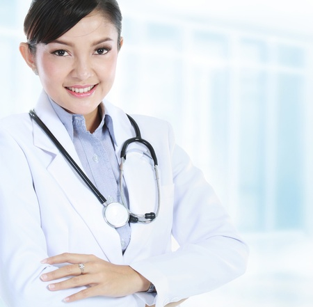 Confident medical doctor woman in the office photo