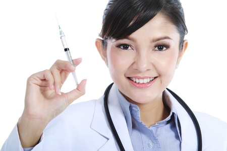 Portrait of a beautiful woman doctor hold an injection. Isolated over white background. photo
