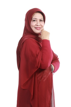 purdah: Confident Muslim woman in scarf, isolated over white background