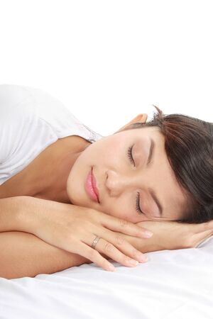 close up shot of beautiful sleeping woman with copy space on top of her photo