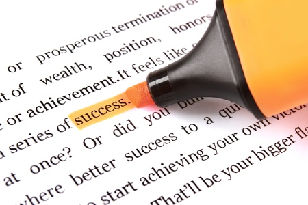 article writing: marker and word success - concept business background Stock Photo