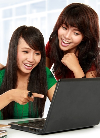 Two pretty women learning with a laptop Stock Photo - 11847145