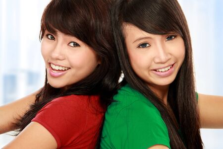 close up portrait of attractive two teenage girls having fun Stock Photo - 11846647