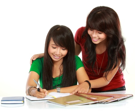 studygroup: portrait of two young asian student studying Stock Photo