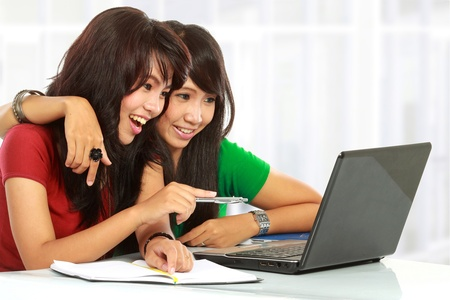 Two pretty women learning with a laptop Stock Photo - 11846669