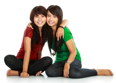 friend hug: portrait of attractive two teenage girls best friend having fun