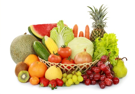 set of fresh fruits and vegetables with basket isolated on white background photo