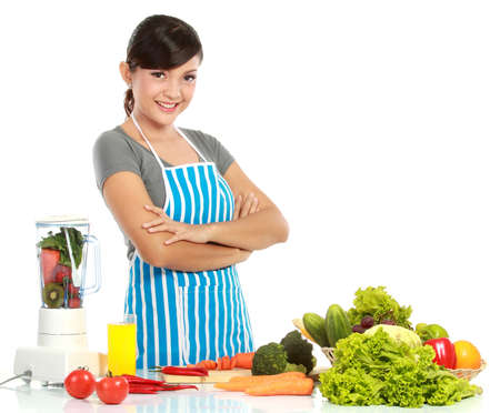 Young smiling woman with healthy food isolated Over white background photo
