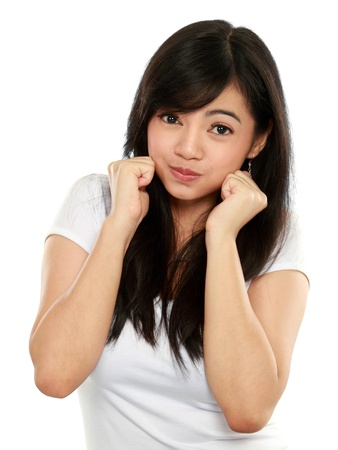 Young smiling happy woman portrait on white background