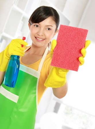 portrait of Attractive young woman cleaning windows with sprayer and sponge photo