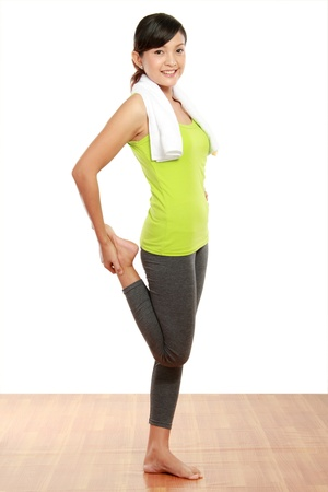 healthy fitness woman stretching photo