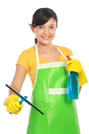 aprons: portrait of Attractive young woman cleaning windows isolated over white background