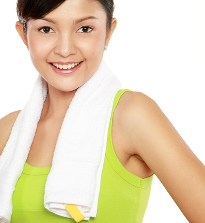 Portrait of healthy young woman in sports wear Stock Photo - 12371685