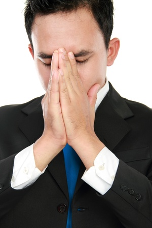 close up portrait of stressed business man Isolated over white background photo