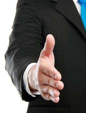 gesture of man hand offering handshake photo